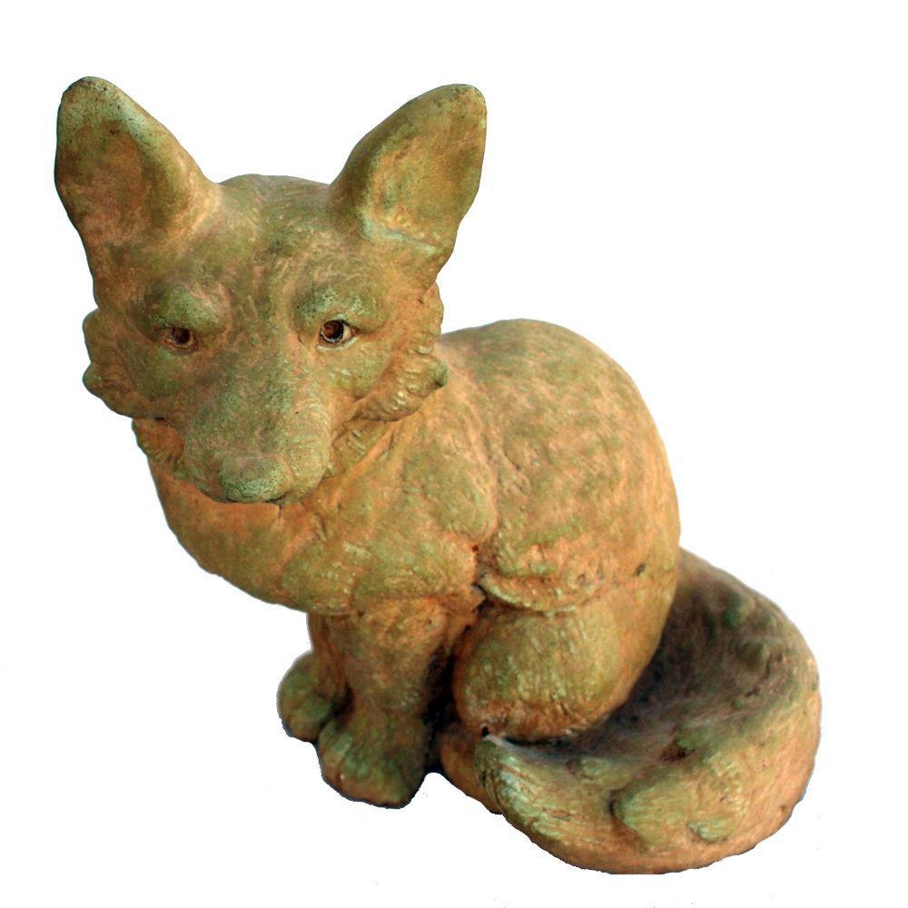 Cast Stone Fox Garden Statue   Weathered Bronze GNFOX WB   The Home Depot