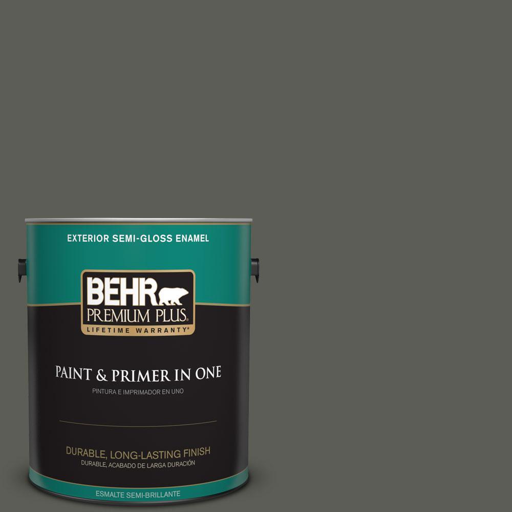 1-gal. #N380-7 Black Bamboo Semi-Gloss Enamel Exterior Paint