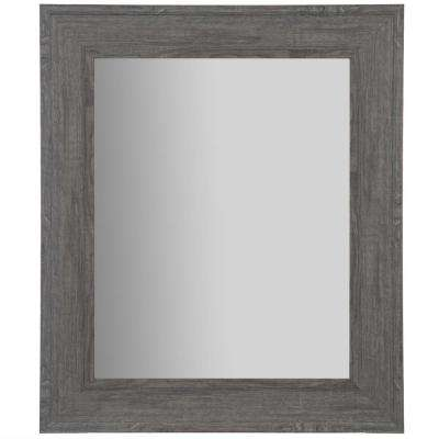 Woodgrain Framed Rectangular Graywash Decorative Mirror
