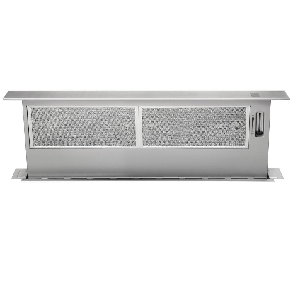 Frigidaire 36 in telescopic downdraft system in stainless for Down draft range hood