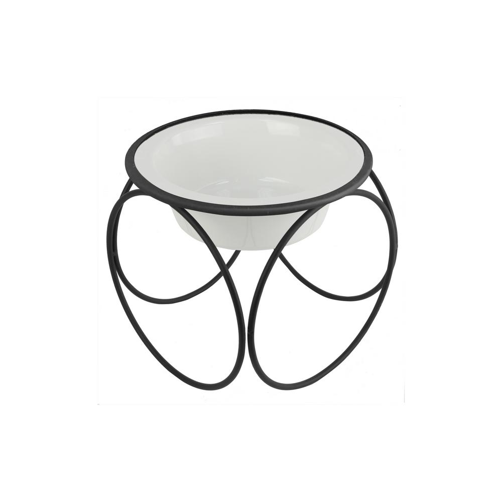 1.25 Cup Olympic Single Diner Feeder with Dog/Cat Bowl, Pearl White