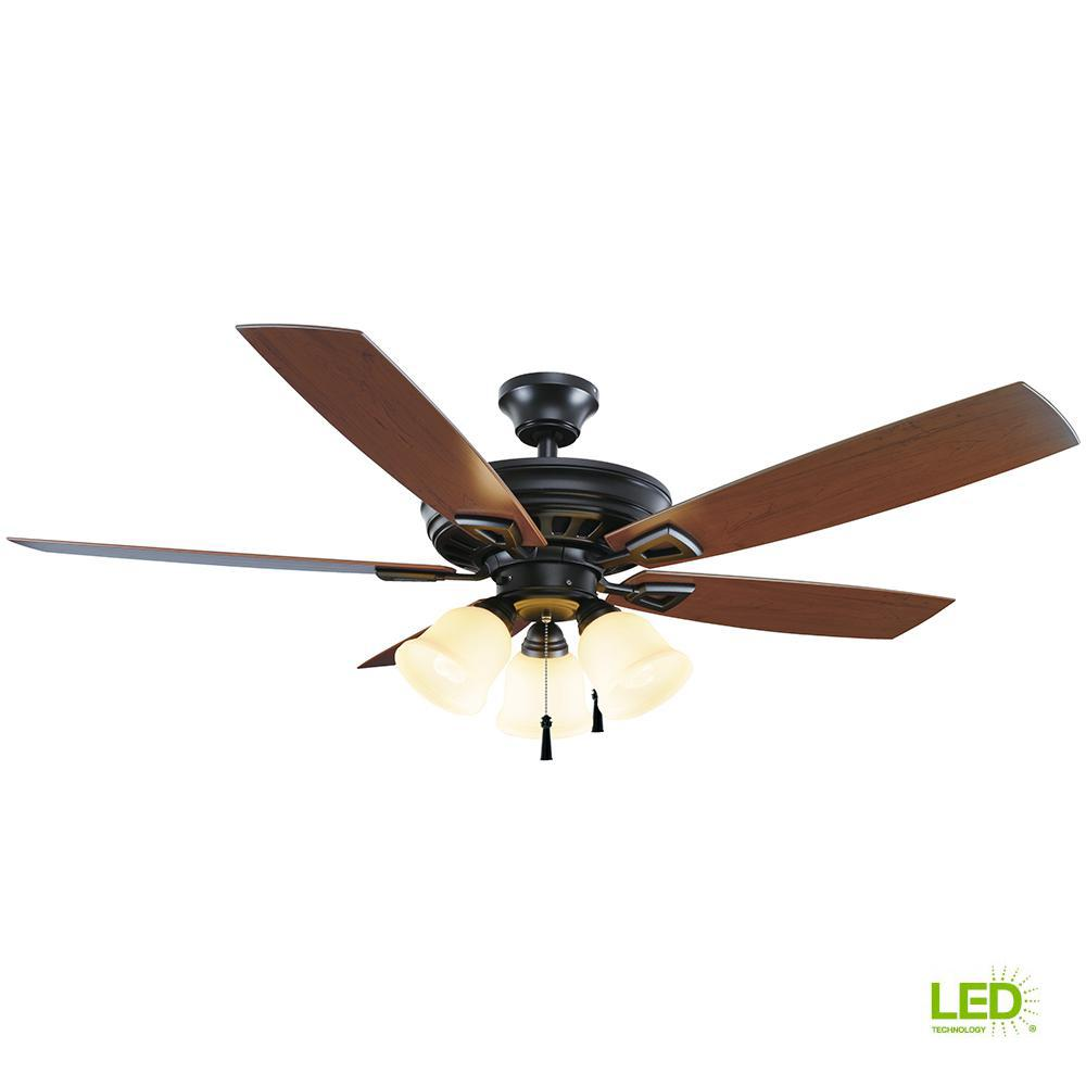 c750cbbb2fd Home Decorators Collection Gazelle 52 in. LED Indoor Outdoor Natural Iron  Ceiling Fan with