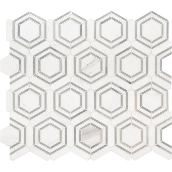 Georama Grigio 13 in. x 11 in. x 10mm Polished Marble Mesh-Mounted Mosaic Tile (9.99 sq. ft. / case)