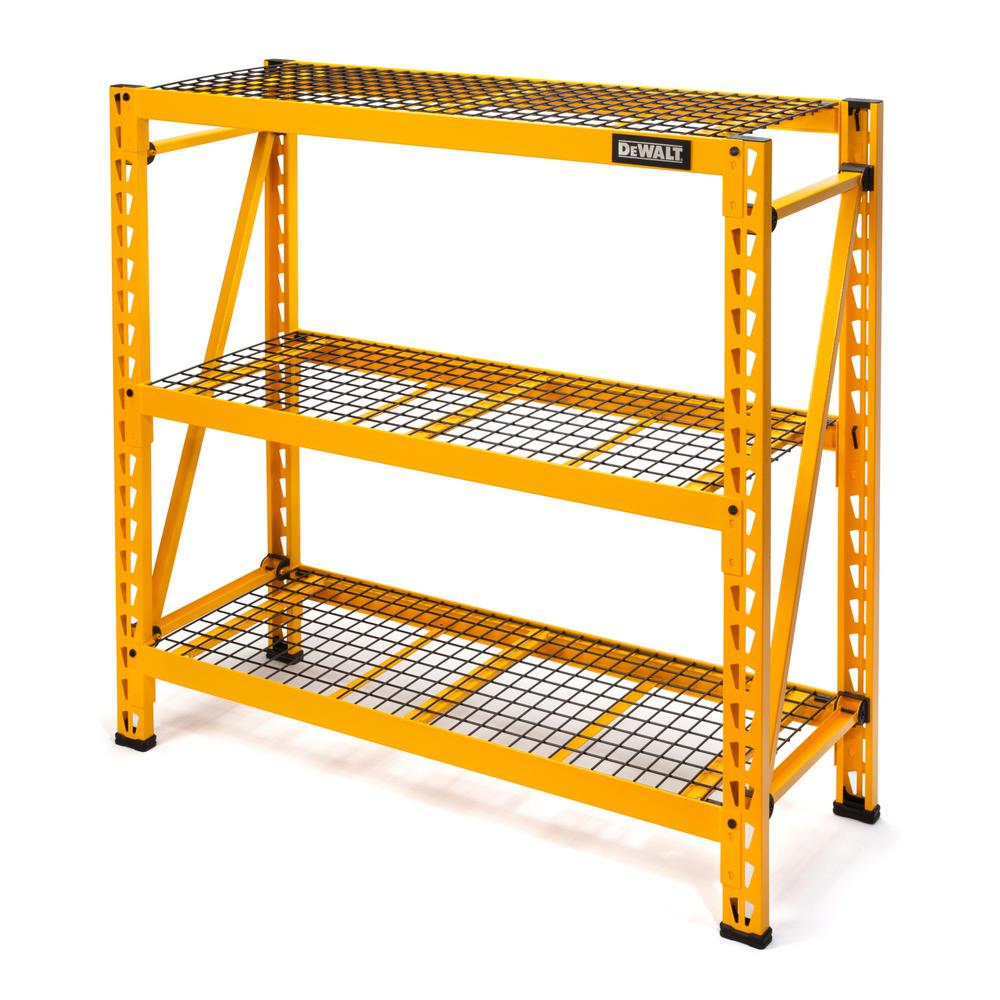 DEWALT 48 in. H x 50 in. W x 18 in. D 3-Shelf Steel Wire Deck Expandable Industrial Storage Rack Unit in Yellow