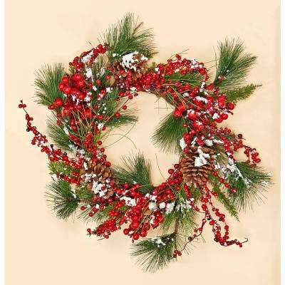 22 in. Snowy Weatherproof Berry Pine Pinecone Wreath