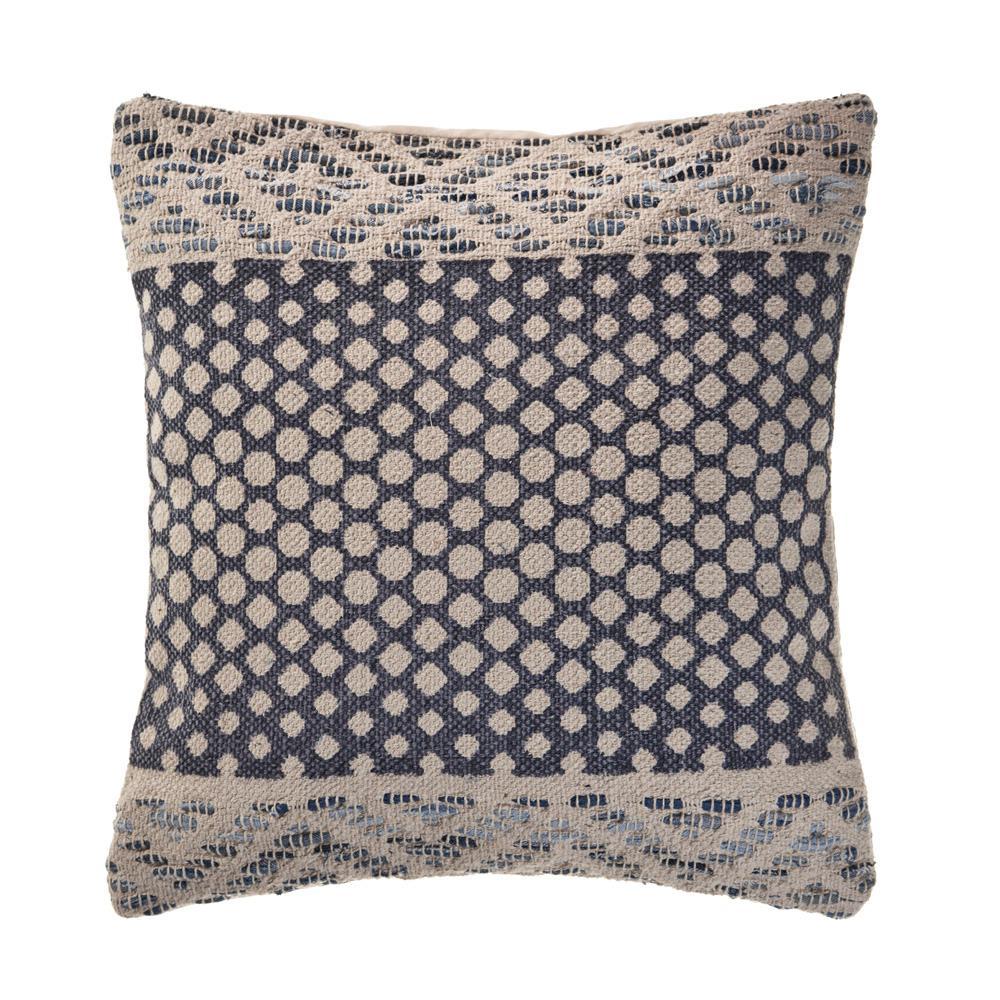 Spotlight Denim Blue 20 in. x 20 in. Detailed Throw Pillow