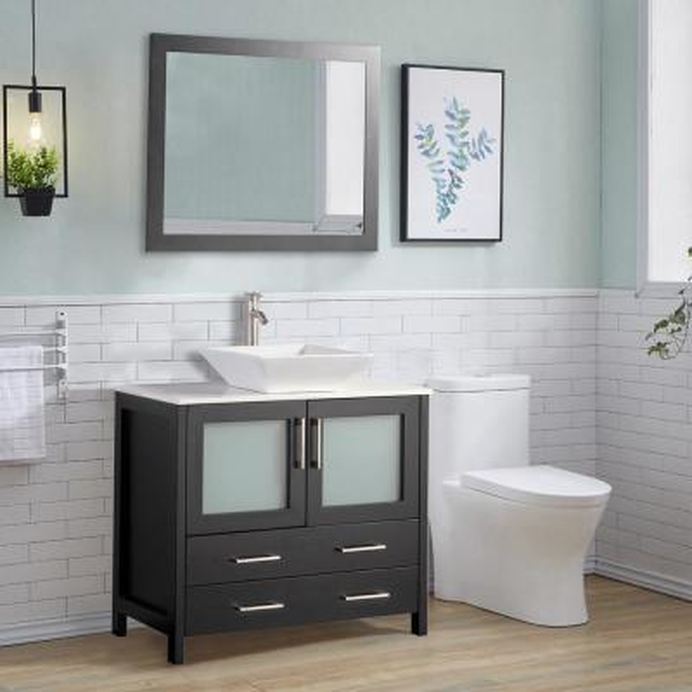 36 in. W x 18.5 in. D x 36 in. H Bathroom Vanity in Espresso with Single Basin Vanity Top in White Ceramic and Mirror