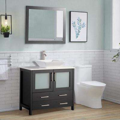 36 in. W x 18.5 in. D x 36 in. H Bathroom Vanity in Espresso with Single Basin Vanity Top in White Ceramic and Mirror
