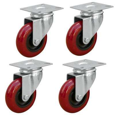 3 in. Dia Swivel Polyurethane Plate Caster in Red (4-Pack)