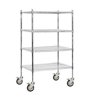 36 in. W x 69 in. H x 24 in. D Industrial Grade Welded Wire Mobile Wire Shelving in Chrome