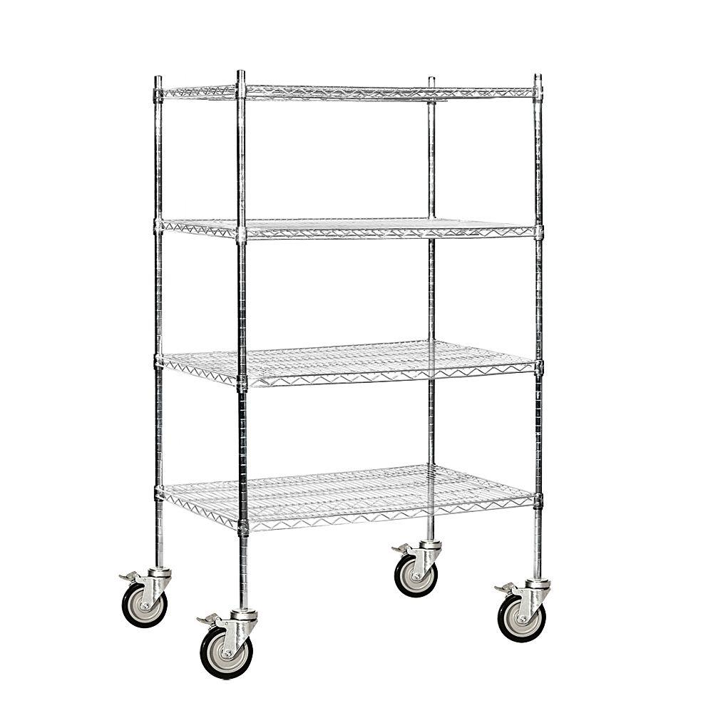 Salsbury Industries 9500S Series 36 in. W x 69 in. H x 24 in. D Industrial Grade Welded Wire Mobile Wire Shelving in Chrome