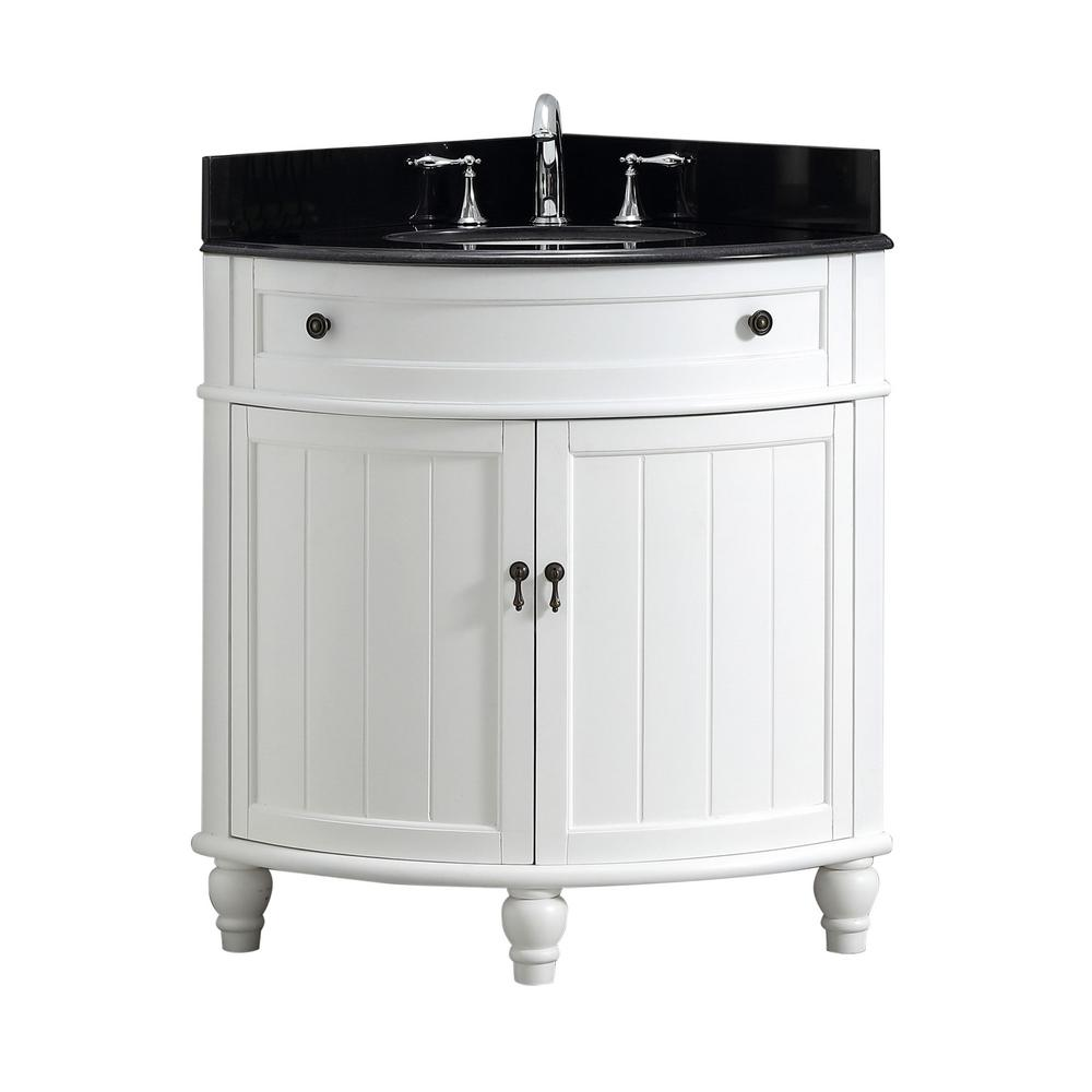 Modetti Angolo 34 in. W x 24 in. D Bath Vanity in White with Marble Vanity Top in Black with White Basin