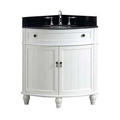 Angolo 34 in. W x 24 in. D Bath Vanity in White with Marble Vanity Top in Black with White Basin