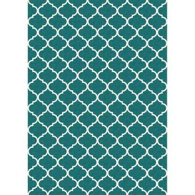 Washable Moroccan Trellis Teal 5 Ft X 7 Area Rug