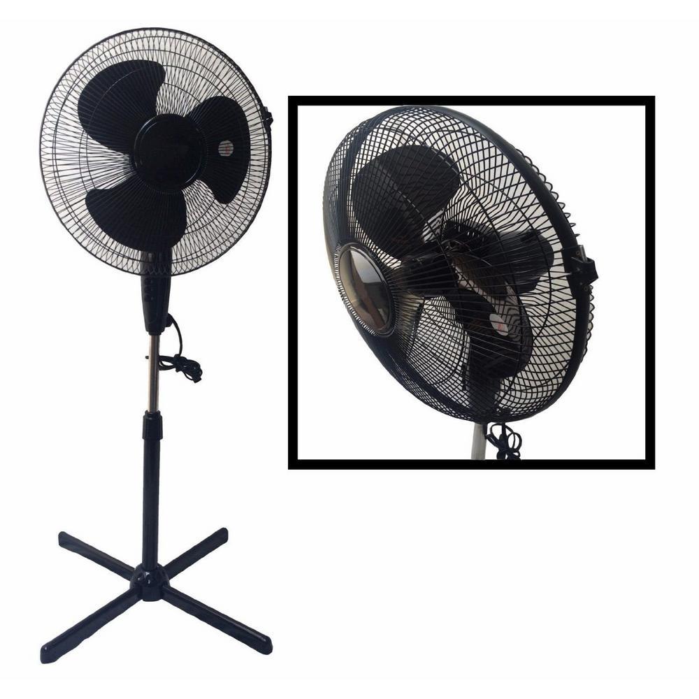 LavoHome Quiet 16 in. Black Standing Floor Fan 3-Speed Oscillating Adjustable Height