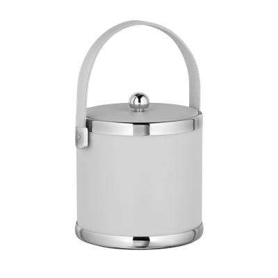 Contempo 3 Qt. White Ice Bucket with Stitched Handle and Flat Vinyl Lid