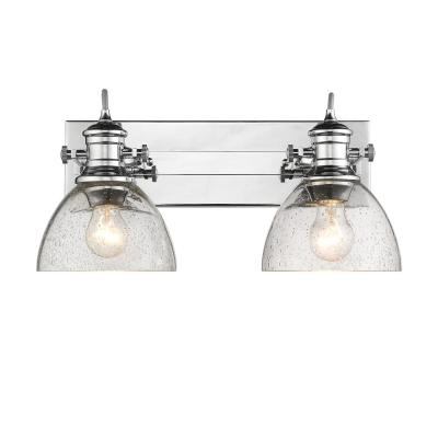 Hines 2-Light Chrome and Seeded Glass Bath Light