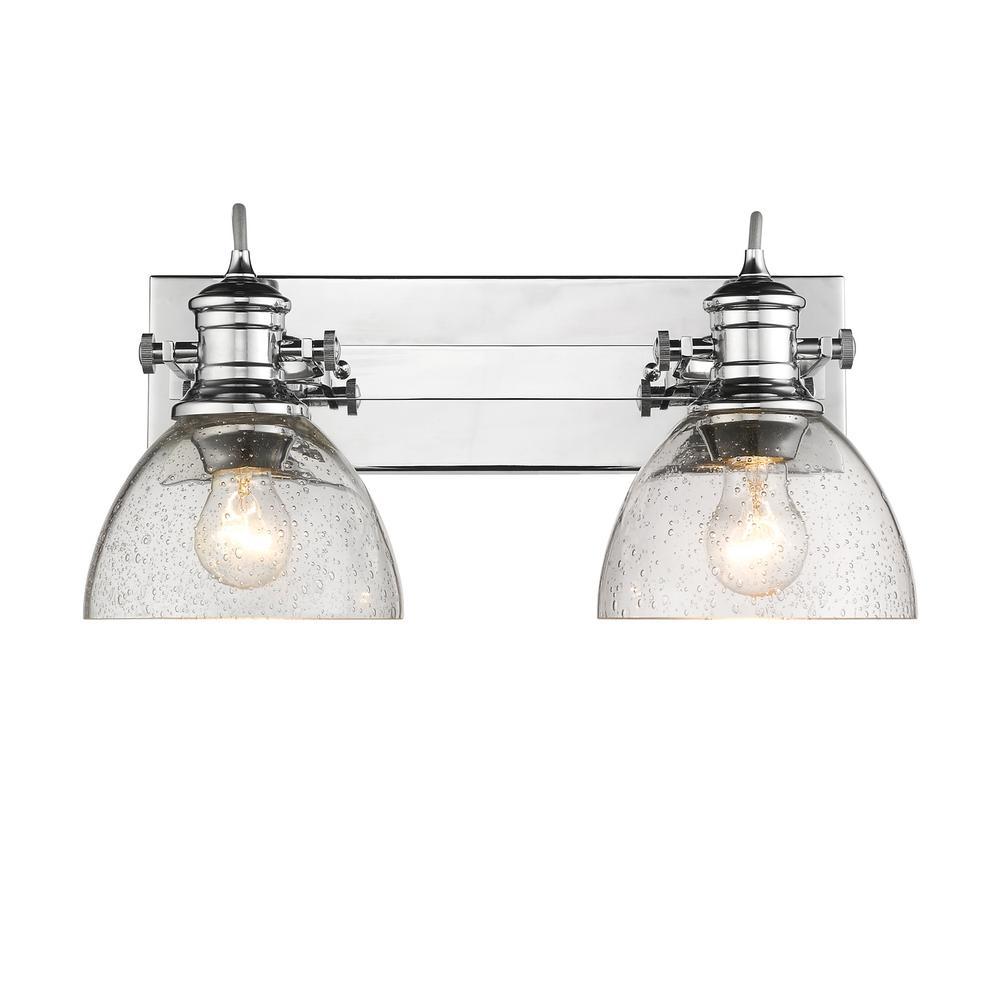 Hines 2-Light Chrome and Seeded Glass Bath Light