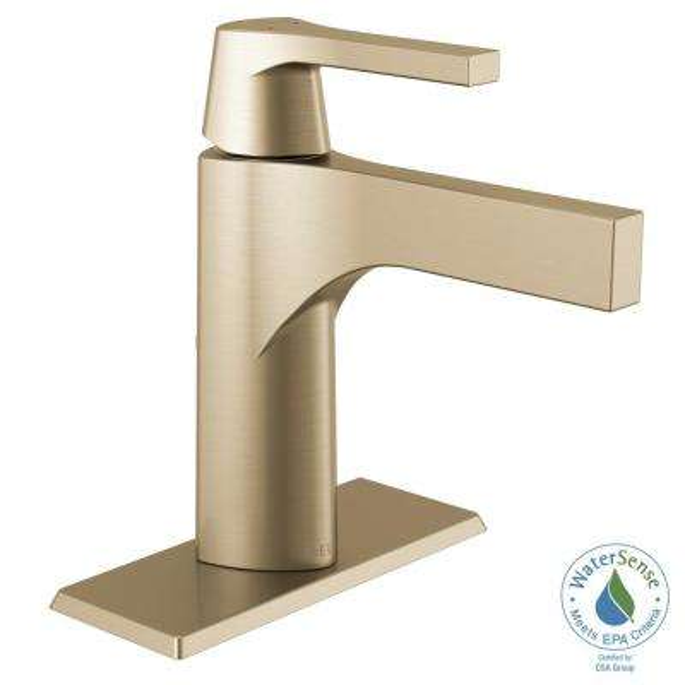 Zura Single Hole Single-Handle Bathroom Faucet in Champagne Bronze
