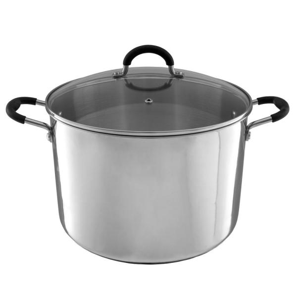 12 qt. Stamped Steel Stock Pot in Stainless Steel with Glass Lid