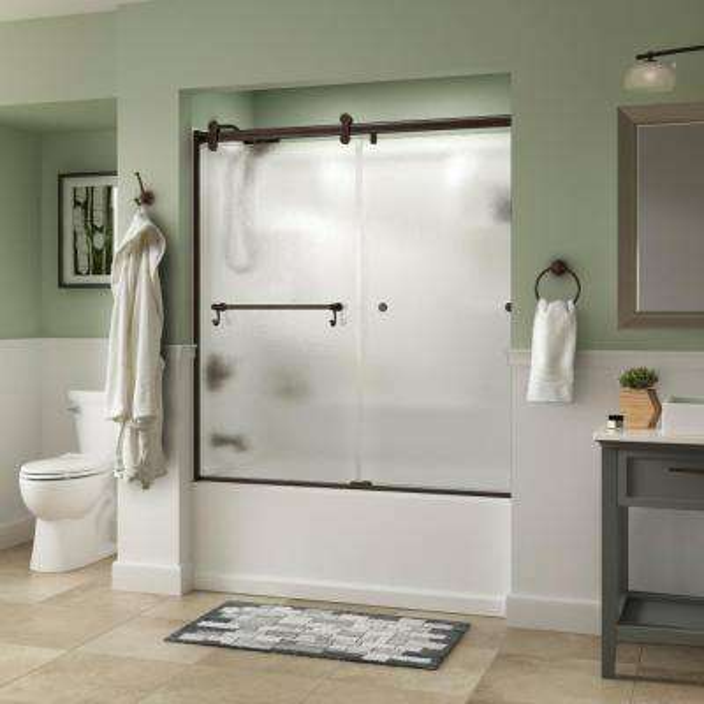 Portman 60 in. x 58-3/4 in. Semi-Frameless Contemporary Sliding Bathtub Door in Bronze with Rain Glass