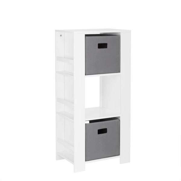 RiverRidge Home Kids White Cubby Storage Tower with Bookshelves with 2-Piece Gray Bins