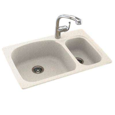 Drop-In/Undermount Solid Surface 33 in. 1-Hole 70/30 Double Bowl Kitchen Sink in Tahiti Matrix