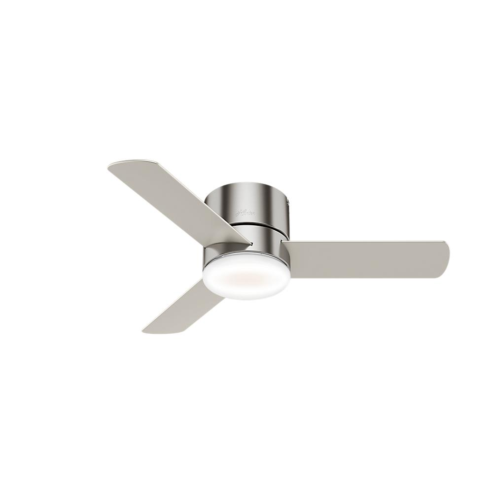 Hunter Hunter Minimus 44 in. Low Profile Integrated LED Indoor Brushed Nickel Ceiling Fan with Light Kit and Remote