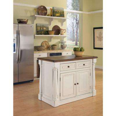 Monarch White Kitchen Island With Drop Leaf