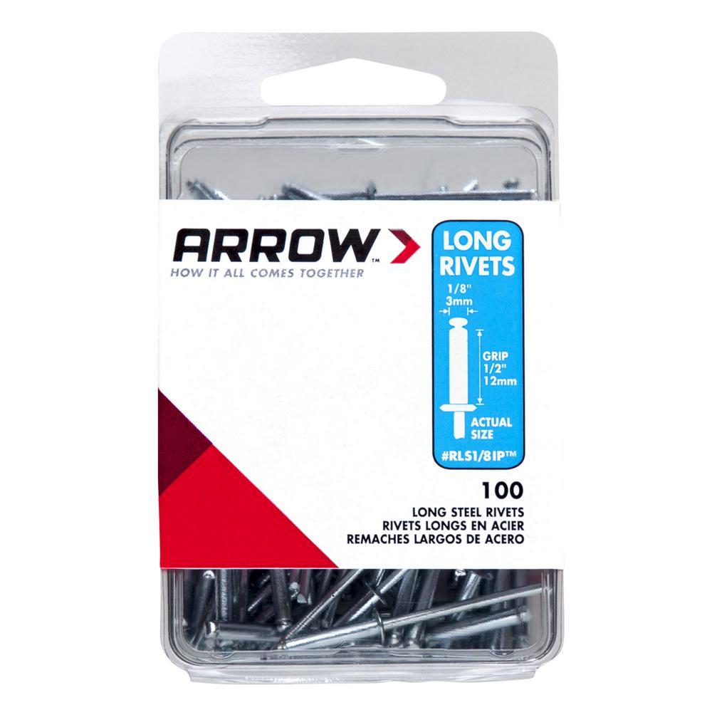 Arrow Fastener RLS 1/8 inch Long Steel Rivets (100-Pack) by Arrow Fastener