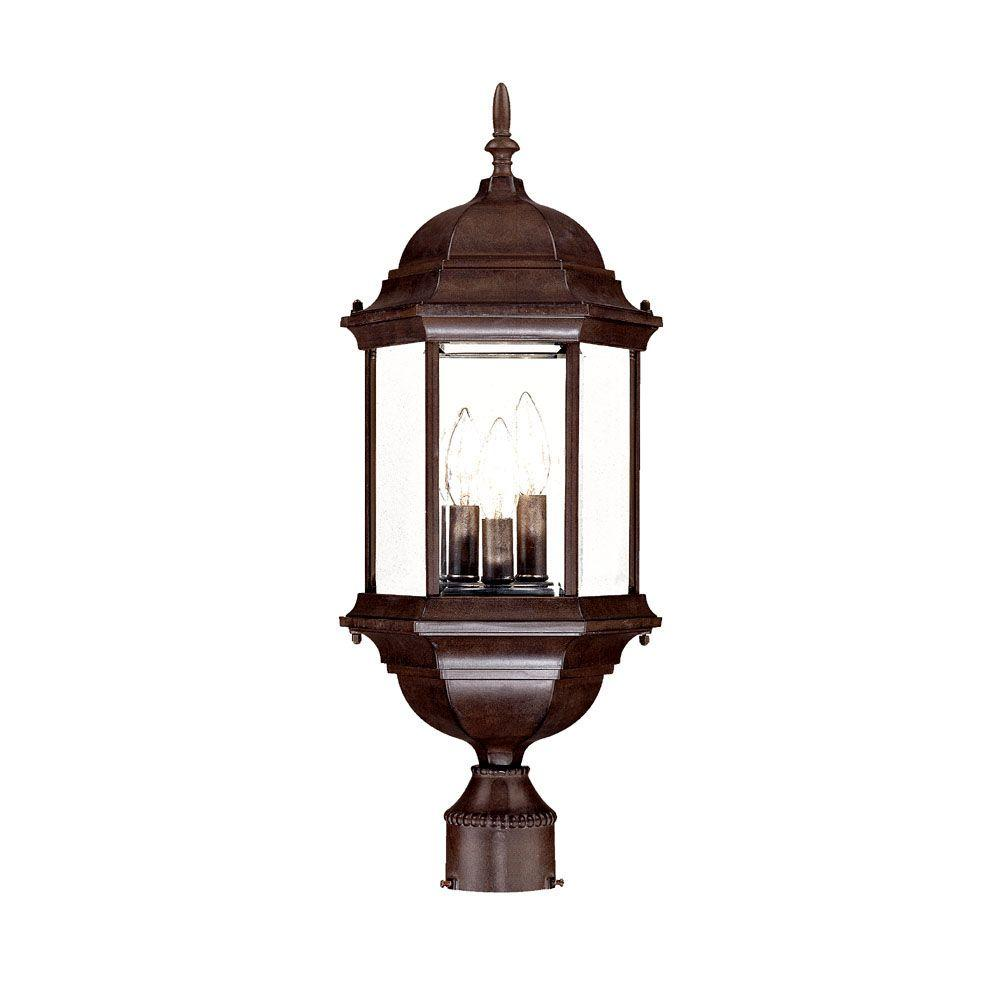 Acclaim Lighting Madison 3 Light Burled Walnut Outdoor Post Mount Fixture