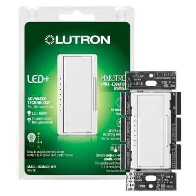 Maestro LED+ Dimmer Switch for Dimmable LED, Halogen and Incandescent Bulbs, Single-Pole or Multi-Location, White