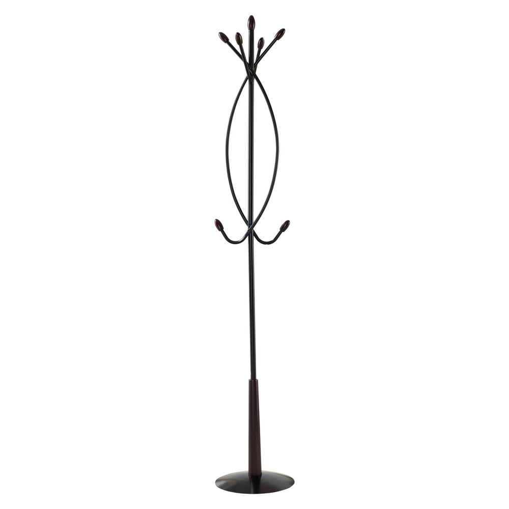 Black Metal 7-Hook Hall Tree Coat and Hat Rack