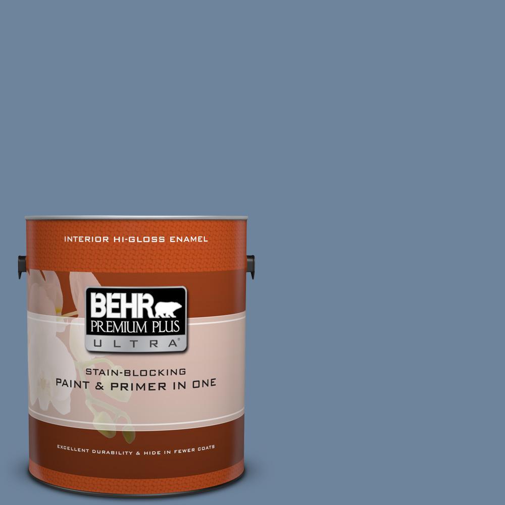 Behr premium plus ultra 1 gal s520 5 thundercloud hi gloss enamel interior paint and primer in for Behr interior paint and primer in one