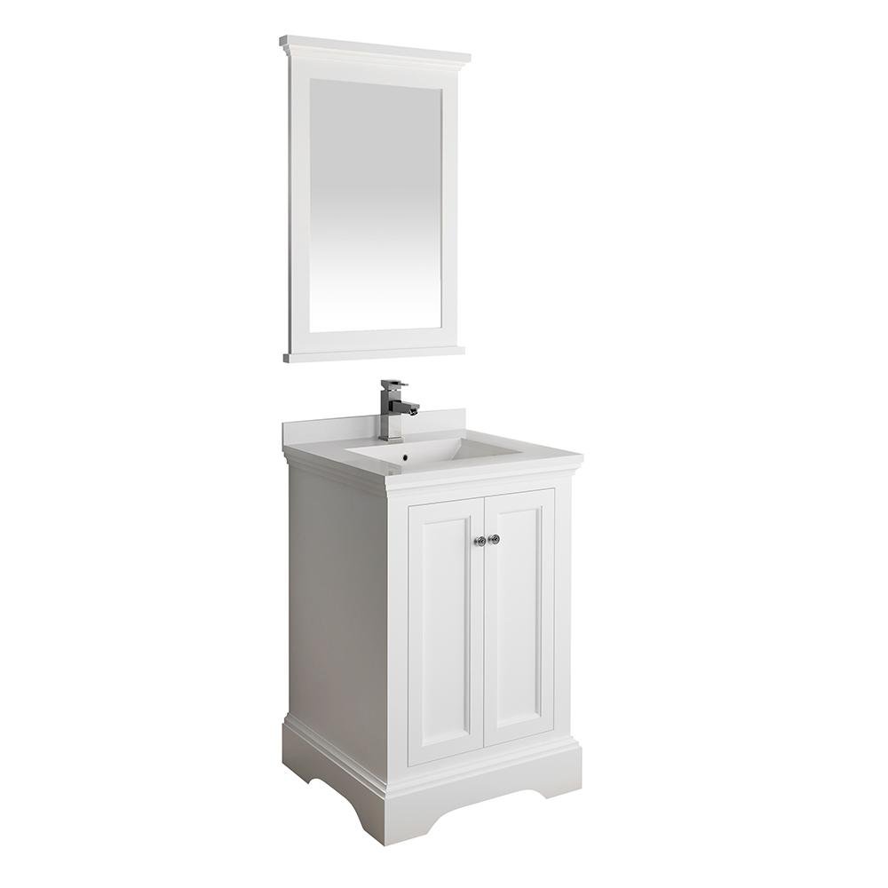 Fresca Windsor 24 in. W Traditional Bath Vanity in Matte White with Quartz Stone Vanity Top in White with White Basin, Mirror
