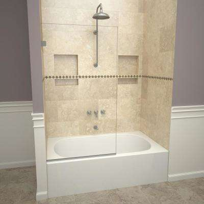 2000V Series 30 in. W x 60 in. H Semi-Frameless Fixed Tub Door in Brushed Nickel and Clear Glass