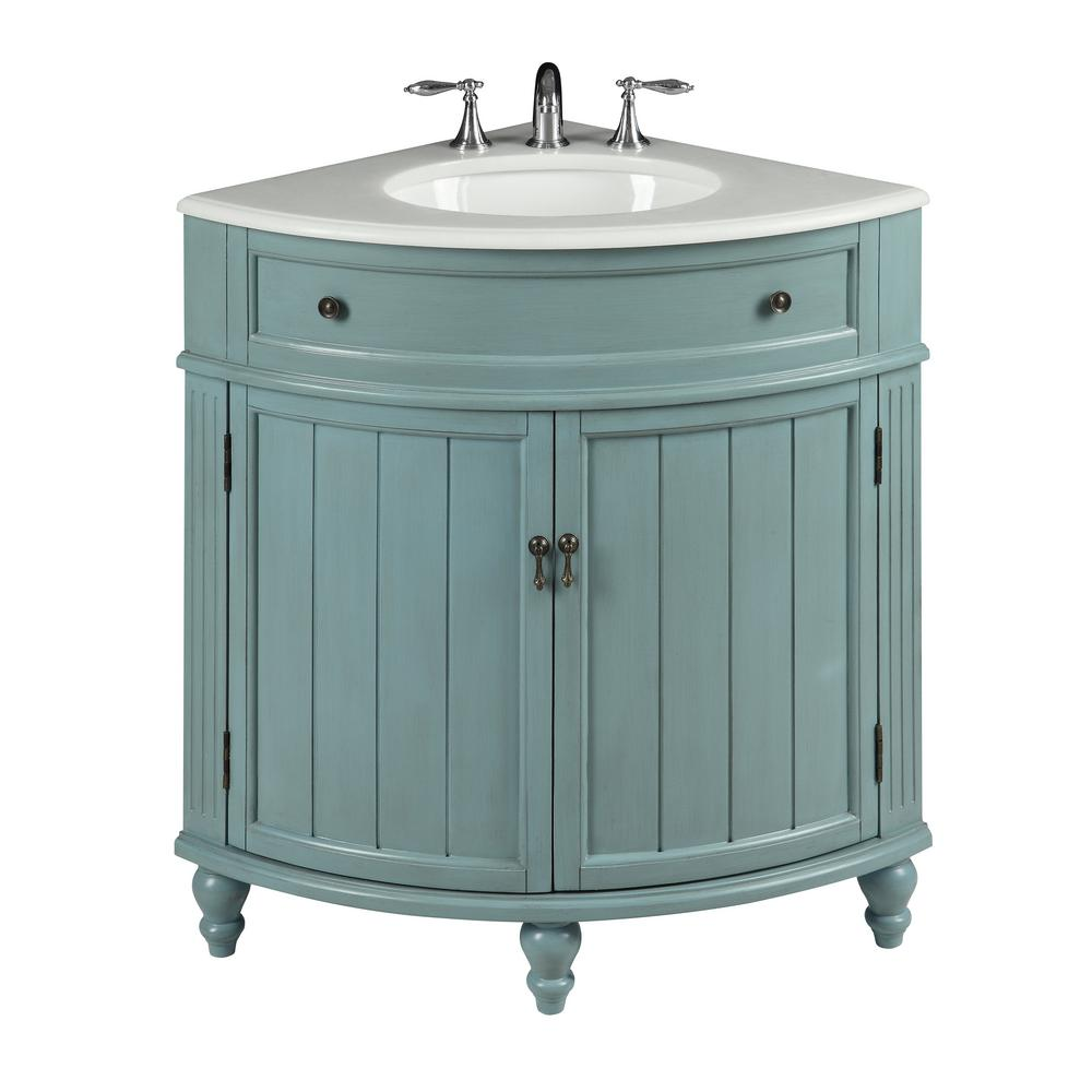 Thomasville 24 in. W x 24 in. D x 34.5 in. H in. Bath Vanity in Blue with Marble Vanity Top in White with White Basin