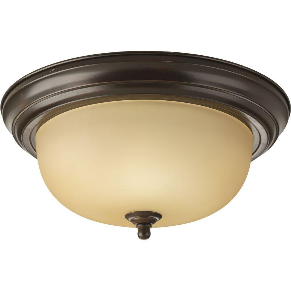 Progress Lighting 2-Light Antique Bronze Flush Mount with Etched Light Topaz Glass was $21.06 now $12.63 (40.0% off)