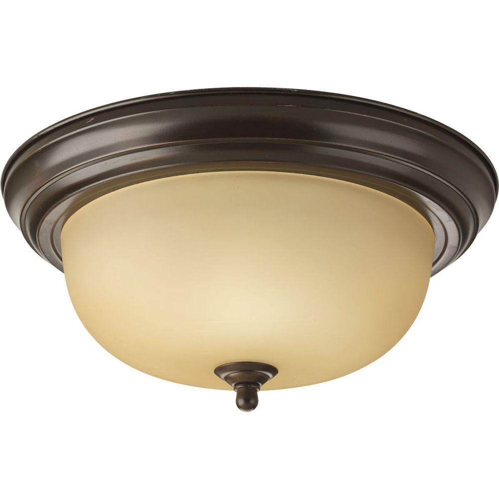 Light Fixtures Trinidad: Volume Lighting Trinidad 2-Light Antique Bronze Flushmount
