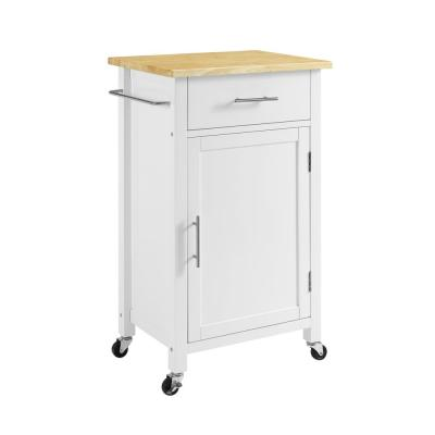 Savannah White Compact Kitchen Island with Wood Top