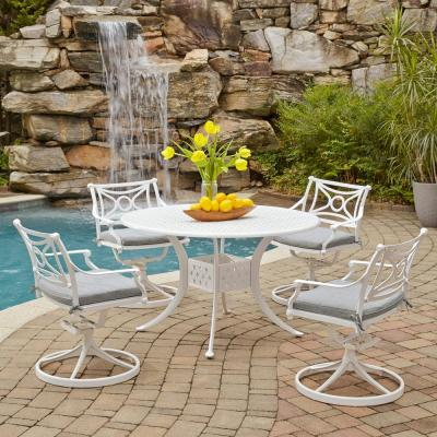La Jolla Cast White 5-Piece Aluminum Round Outdoor Dining Set with Gray Cushions