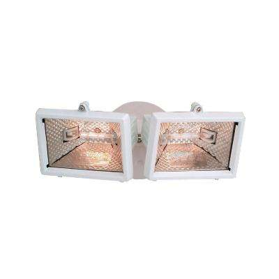 Quartz Halogen 2-Light White Outdoor Halogen Security Light