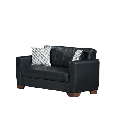 Barato Black Leatherette Upholstery Convertible Love Seat with Storage
