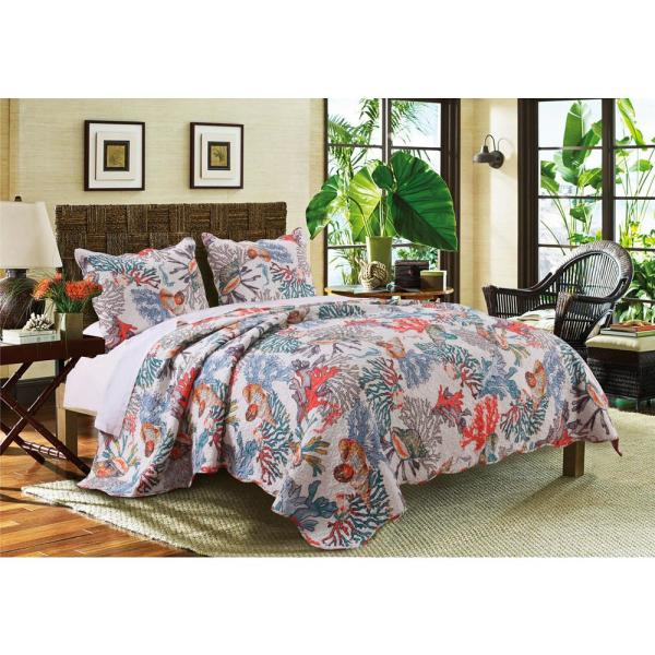 Greenland Home Fashions Atlantis 3-Piece Multi Full and Queen Quilt Set