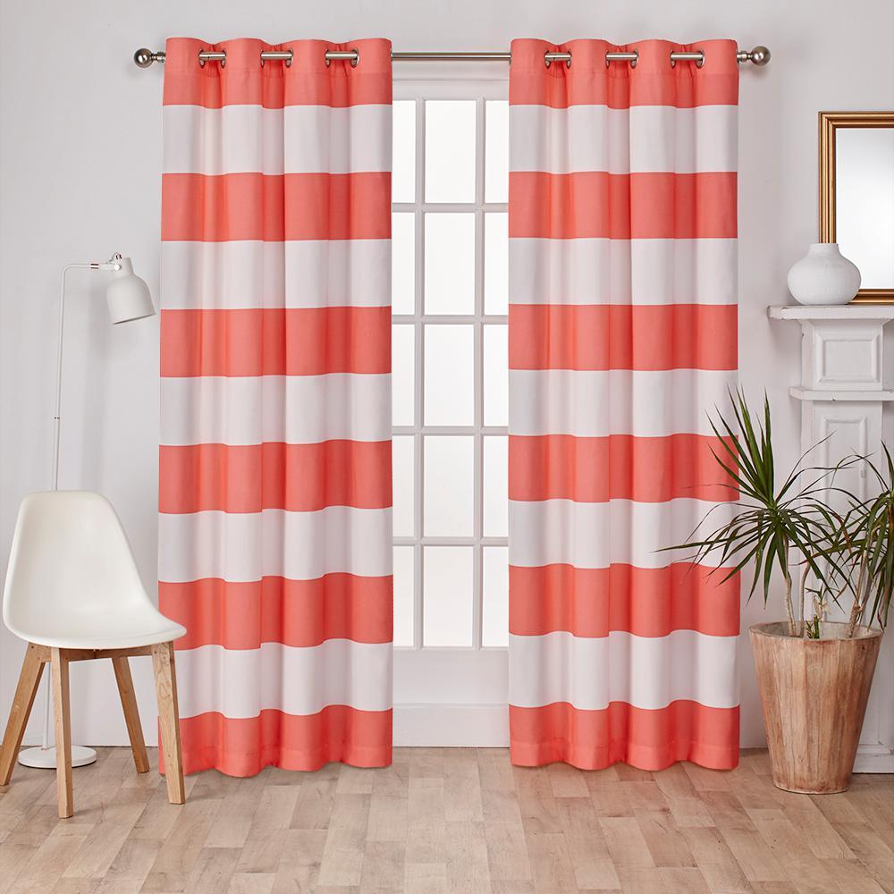 Surfside Coral Cabana Stripe Cotton Grommet Top Window Curtain