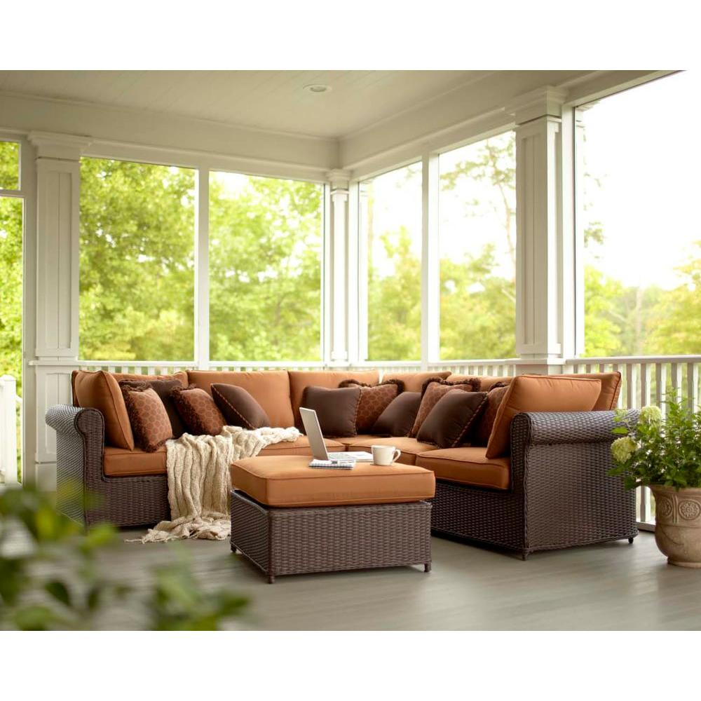 Hampton Bay Cibola 6-Piece Patio Sectional Seating Set with Nutmeg Cushions