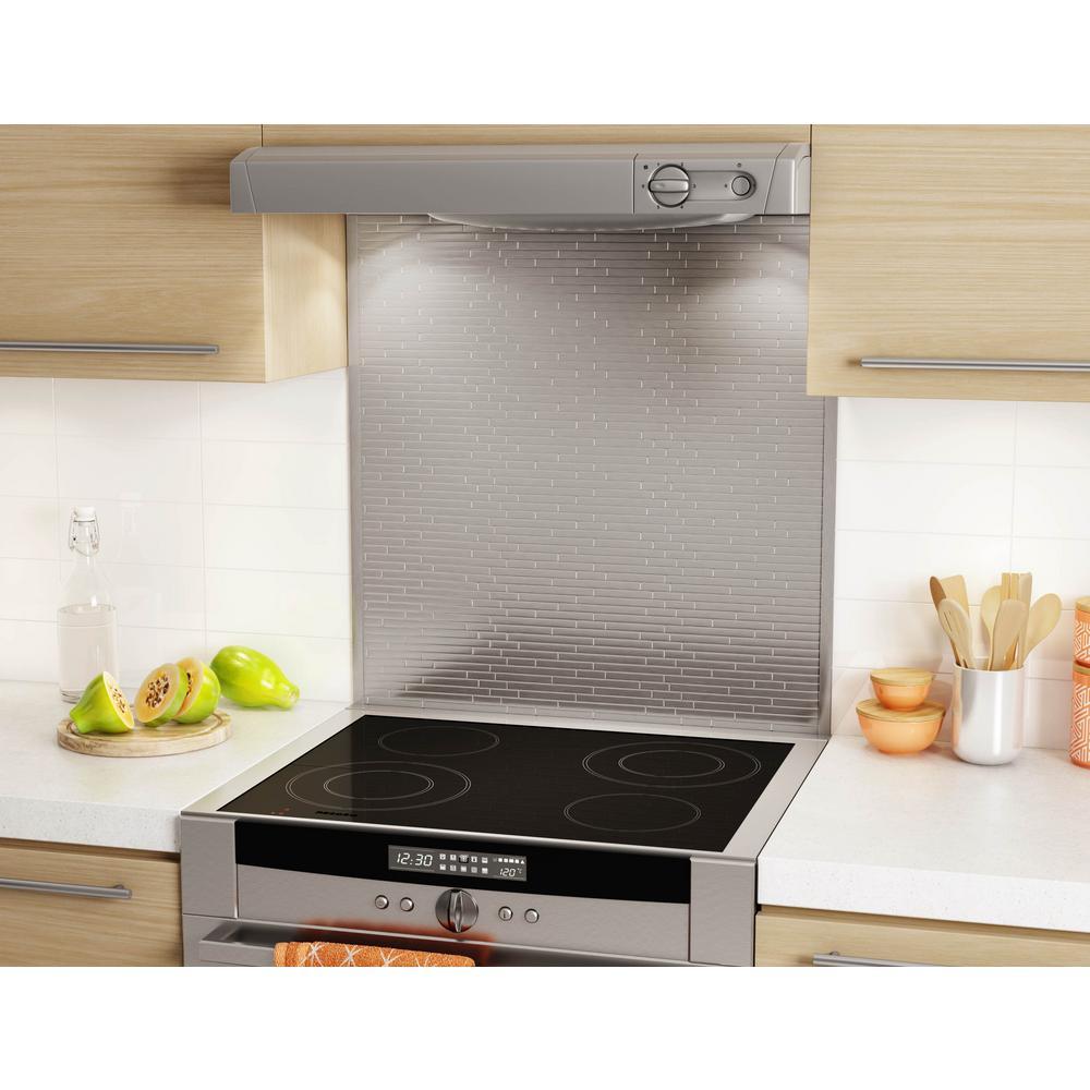 Linox Stainless 29-5/8 in. x 30.79 in. x 5 mm Self-Adhesive Range Backsplash Metal Mosaic Tile (6.25/SF Pack)