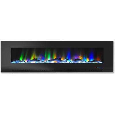 60 in. Wall-Mount Electric Fireplace in Black with Multi-Color Flames and Driftwood Log Display