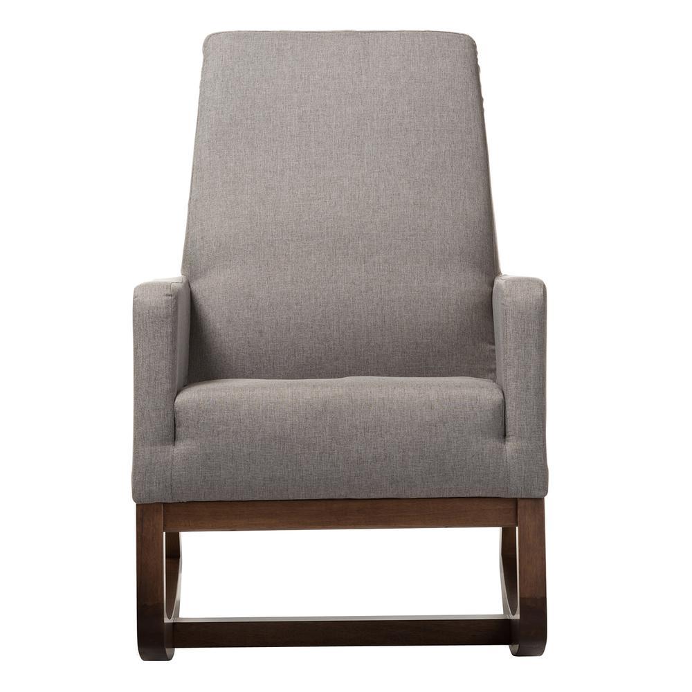 Baxton Studio Yashiya Mid-Century Gray Fabric Upholstered Rocking Chair