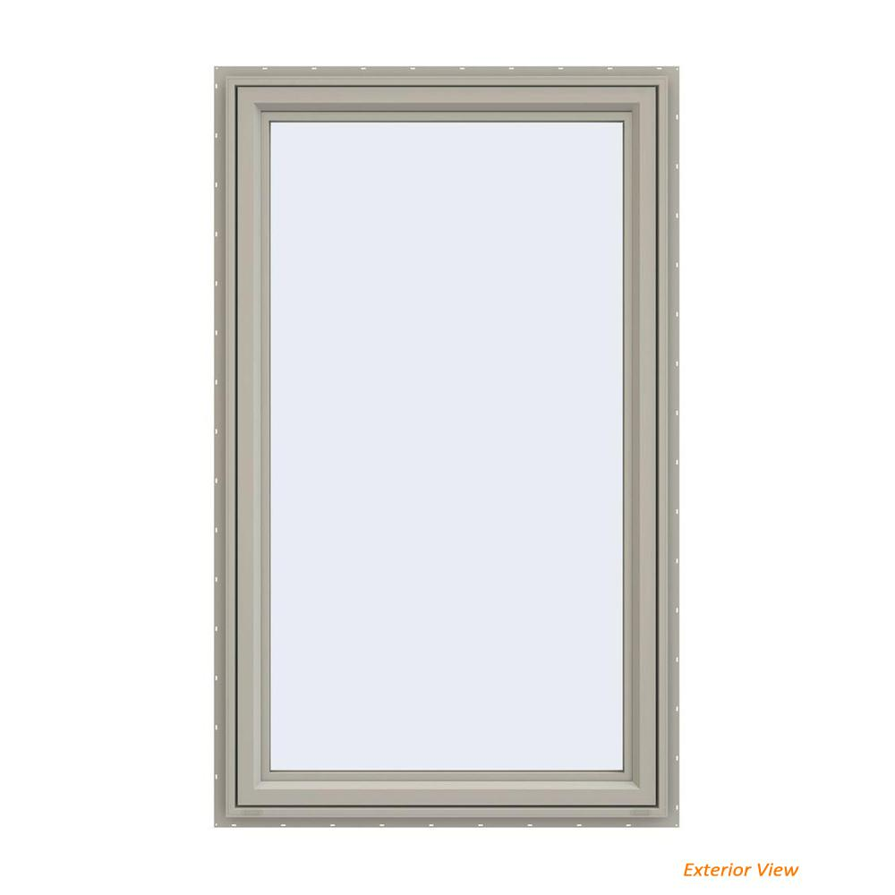 JELD-WEN 35.5 in. x 59.5 in. V-4500 Series Desert Sand Painted Vinyl Right-Handed Casement Window with Fiberglass Mesh Screen